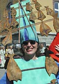from the parade - dressed as a rack of drying Klippfisk!