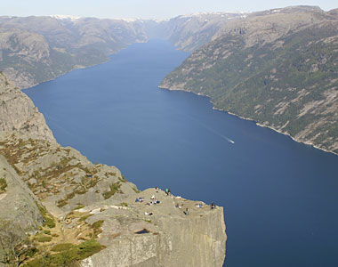 view of Pulpit Rock and looking up Lysefjord