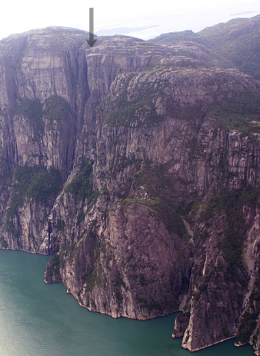 Pulpit Rock towering over Lysefjord - seen from a sightseeing helicopter