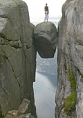 kjeragbolten - the wedged stone that some people stand on